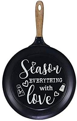 NIKKY HOME 15  x 24  Pan Shaped Metal Wall Kitchen Sign with Quote Season Everything with love  Black