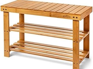 Homemaid living Bamboo 3 Tier Shoe Rack Bench  Premium Shoe Organizer or Entryway Bench  Perfect for Shoe Cubby  Entry Bench  Bathroom Bench  Entryway Organizer  Hallway or living Room Natural Bamboo