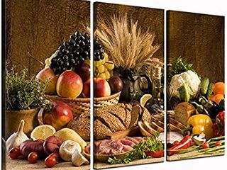 levvArts   Food Canvas Wall Art Good Harvest Wheat Fruit Vegetable Bread Picture Print On Canvas for Kitchen Room Decoration large 3 Pieces Artwork Ready to Hang   canvas is stretched on one panel couldn t picture well  not very noticeable
