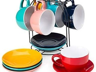 Cutiset 8 Ounce Ceramic Tea Espresso Cup and Saucer Set with metal stand