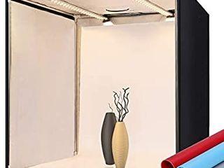 Photo Box FOSITAN Photo Studio light Box 24 60cm with 2 Bi Color led light Bars 252 lED light Beads Dimmable