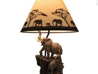 Resin Table lamp Elephants On Expedition Sculptural Table lamp 7 5 X 18 5 X 6 Inches Multicolored