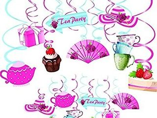 Tea Party Swirl Banner Decorations  30 Pack    Teacup Alice in Wonderland Party Supplies