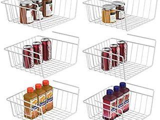Under Shelf Basket  6 Pack White Wire Rack  Wire Basket Under Shelf for Storage