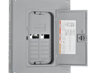 Square D by Schneider Electric HOM1224l125PGC Homeline 125 Amp 12 Space 24 Circuit Indoor Main lugs load Center with Cover and Ground Bar  Plug on Neutral Ready