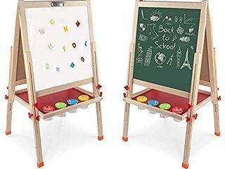 Arkmiido Kids Easel Double Sided Whiteboard   Chalkboard Standing Art Easel