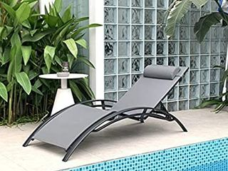 PURPlE lEAF Patio Chaise lounge Sets 3 Pieces Outdoor lounge Chair Sunbathing Chair with Headrest and Table for All Weather  Grey
