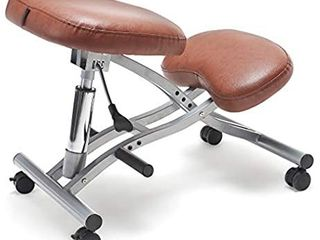 FringeKitt Upright Kneeling Chair  Moderate Hip Angle  Footrests  lighter Pressure on Shins  Pneumatic  Tilting Knee Pad  Ergonomic  Adjustable Height  Posture Correction  Back Pain Relief