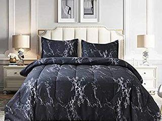 NANKO Comforter Set King Size  Dark Black Marble Print 104 x 90 inch Reversible Down Alternative Comforter Microfiber Duvet Sets  1 Comforter   2 Pillow  Best Modern Bedding for Women Men