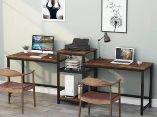 Tribesigns 96 9  Double Computer Desk with Printer Shelf  Extra long Two Person Desk Workstation with Storage Shelves