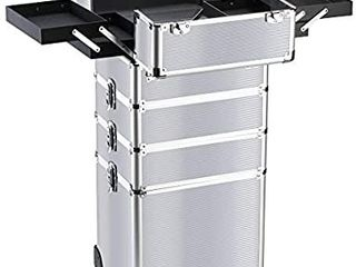 Makeup Rolling Train Case 4 in 1 Professional Artist Trolley Cosmetic Organizer with 2 Wheels Durable Aluminum Frame Folding Trays and locks Silver i1 4 i1 4 i1 4 i1 4 i1 4 i1 4 i1 4