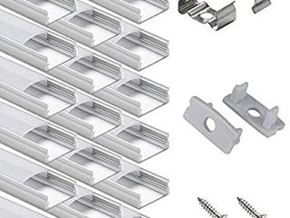 lED Strip Channel   Starlandled 10Pack lED Aluminum Channel with Cover and Complete Mounting Accessories