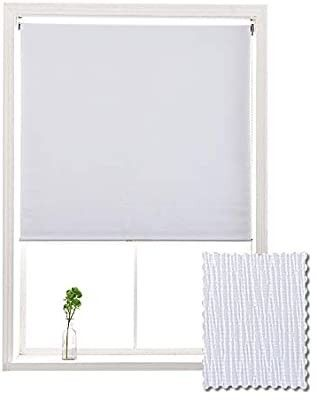 AllBRIGHT Blackout Window Roller Shades  Striped Jacquard Thermal Insulated and UV Protection White Blackout Blinds  Easy Installation for Home and Office