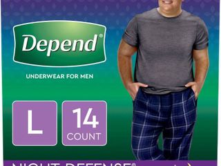 Depend Night Defense Incontinence Underwear for Men   Overnight   Disposable   large   14 ct