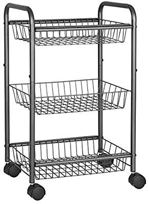 3 Tier Metal Rolling Cart on Wheels with Baskets  Utility Trolley with Handles for Kitchen Bathroom Closet  Storage with Removable Shelves