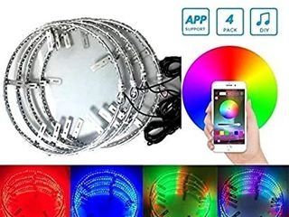 4pc 15 5Inch RGB Auto Multiple dream color Wheel lighting kit with Dream color Blue tooth controlleri1 4288lEDs lED light strips fits most cars  trucks  SUV ATVs