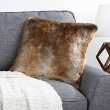Hastings Home Faux Mink Fur Pillow  18in  Ombre Brown