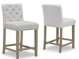 Glamour Home Set of 2 Alee Beige Fabric Counter Stool with Tufted Buttons Retail 232 99