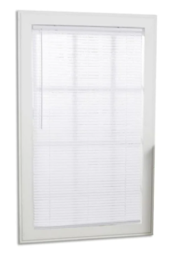 Project Source 1in White light Filtering Cordless Vinyl Mini Blinds 58 x 64   Set of 2