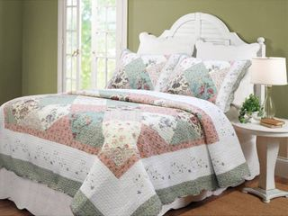 Cozy linen Home Fashions Celia Patchwork 3 piece Cotton Queen Quilt Set Retail 118 49