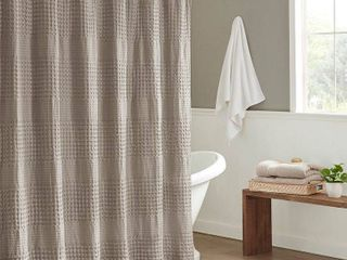 Madison Park Eider Super Waffle Textured Solid Shower Curtain