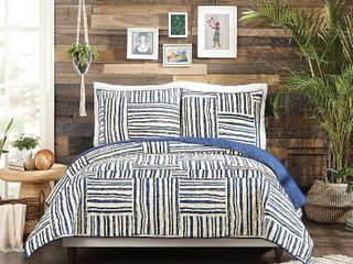 Jungalow King Quilt Set by Justina Blakeney  3 Piece Set Cream Navy Retail 109 99