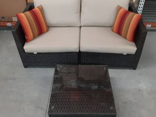 Dark Brown Wicker Patio Set