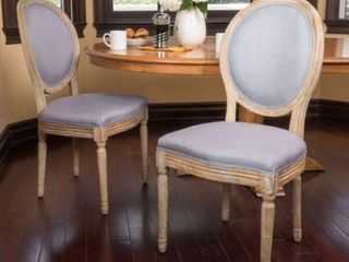 Two Phinnaeus Grey Fabric Dining Chairs