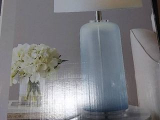 Scott living Table lamp 28  Height Blue Glass w White Shade 3 Way Switch  45 99