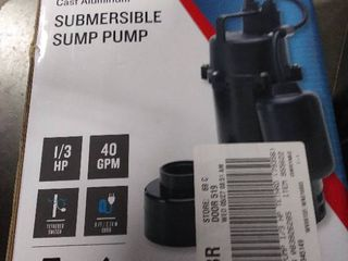 Utilitech 0 33 HP Aluminum Submersible Sump Pump RETAIl  119