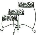 Panacea Products 3 Tiered Folding Scroll and Ivy Plant Stand Black with Brushed Bronze leaves RETAIl  54 20
