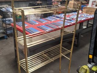 7 Free standing Brass Plated Shelves