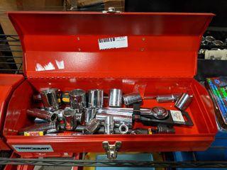 Metal Tool Box With Socket Set