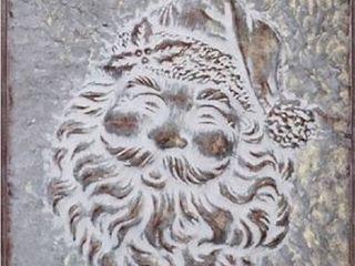 Weathered Grey   19x19  19x19  Metal Santa Face Wall Piece