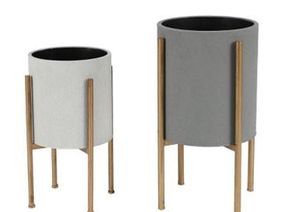 2 Piece Gray Round Metal Planters and Gold Stand Retail 81 48
