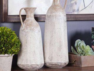 2 Piece Roma Pitcher Metal Vases