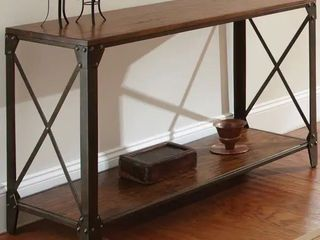 Windham Sofa Table  Carbon loft Fischer Solid Wood and Iron Rustic Sofa Table Retail 245 99