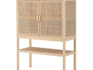 30 H Woven Rattan   Pine Wood Cabinet with 3 Shelves   2 Doors Retail 369 99