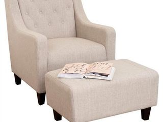 Elaine light Beige Tufted Fabric Club Chair with Ottoman by Christopher Knight Home Retail 407 49