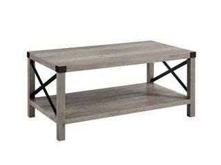 40  Wood and Metal X Coffee Table in Grey Wash