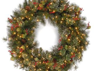 lights do NOT work  36  Green  36 inch Wintry Pine Wreath with Cones  Red Berries  Snowflakes with 150 Clear lights Retail 101 99