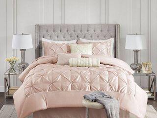 Damaged  see photos  Madison Park Vivian Blush Pieced Pleated 7 piece Comforter Set Retail 111 61