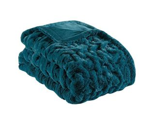 Madison Park Ruched Fur Solid Brushed long Fur Knitted Throw
