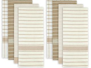 White and Beige Cotton Assorted Oversized Dishtowels  Pack of 8