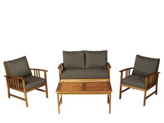 Cushions only  Some discoloration  see photos  Outsunny 4 piece Outdoor Acacia Cushioned Patio Furniture Set Cushions