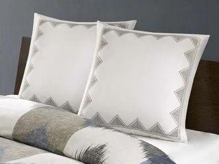 1 pair  Carson Carrington Visaginas Embroidered Cotton 26x26 Euro Sham