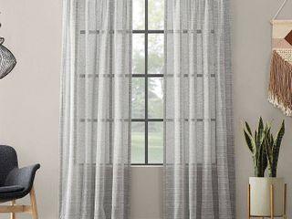 1 pair  Clean Window Textured Slub Stripe Anti Dust Curtain Panel  Grey   52 x 95