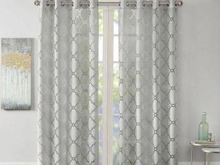 95 x50  Zoe Fretwork Burnout Sheer Curtain Panel Gray
