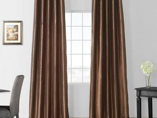 Exclusive Fabrics Faux Silk Taffeta 96 inch Single Blackout Curtain Panel