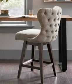 Madison Park Irvine Counter Height Tufted Swivel Bar Stool  missing one back bar between legs